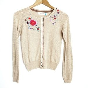 Sparrow Anthropologie Floral Embroidered Cardigan